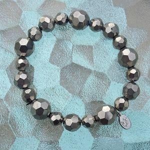 Vintage Cookie Lee Gunmetal Bead Stretch Bracelet
